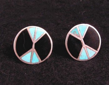 Vintage Dead Pawn Native American Flush Inlay Earrings, Screw-backs