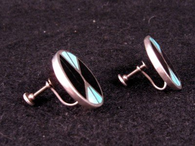 Image 1 of Vintage Dead Pawn Native American Flush Inlay Earrings, Screw-backs