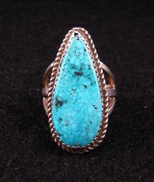 Image 0 of Navajo Gene & Martha Jackson Turquoise Silver Ring Sz7-1/2