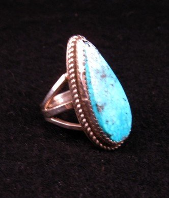Image 2 of Navajo Gene & Martha Jackson Turquoise Silver Ring Sz7-1/2