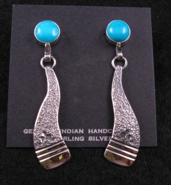 Kingman Turquoise Native American Earrings, Jack Tom (Navajo)