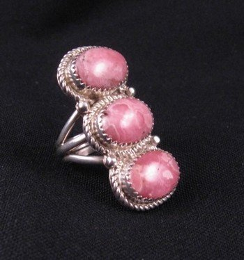 Image 1 of Navajo Rhodochrosite Sterling Ring by Gene & Martha Jackson Sz8
