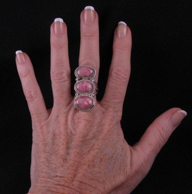 Image 2 of Navajo Rhodochrosite Sterling Ring by Gene & Martha Jackson Sz8