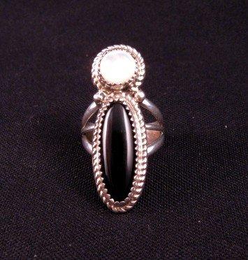 Gene & Martha Jackson Navajo MOP & Onyx Silver Ring Sz7