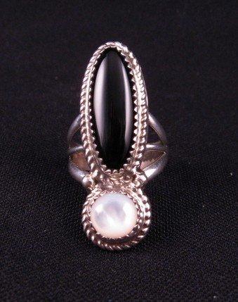 Image 2 of Gene & Martha Jackson Navajo MOP & Onyx Silver Ring Sz7
