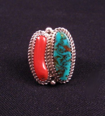 Native American Turquoise & Coral Silver Ring sz7-1/2, Gene & Martha Jackson