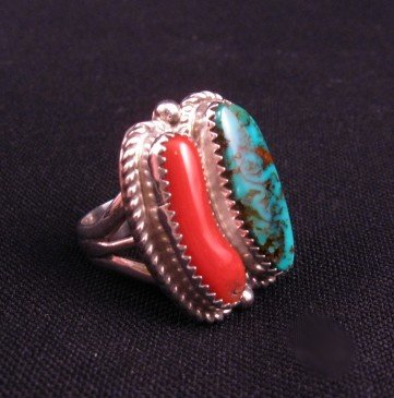 Image 1 of Native American Turquoise & Coral Silver Ring sz7-1/2, Gene & Martha Jackson