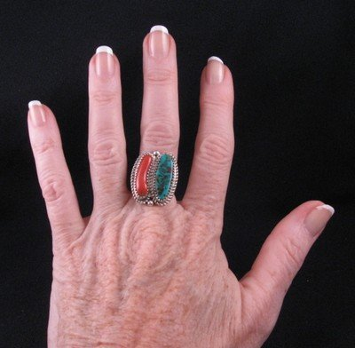 Image 2 of Native American Turquoise & Coral Silver Ring sz7-1/2, Gene & Martha Jackson