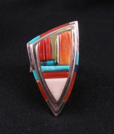 Navajo/Creek David Tune Cobblestone Inlay Ring sz9-sz11 adjustable