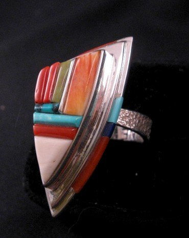 Image 1 of Navajo/Creek David Tune Cobblestone Inlay Ring sz9-sz11 adjustable