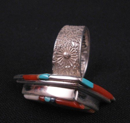 Image 2 of Navajo/Creek David Tune Cobblestone Inlay Ring sz9-sz11 adjustable