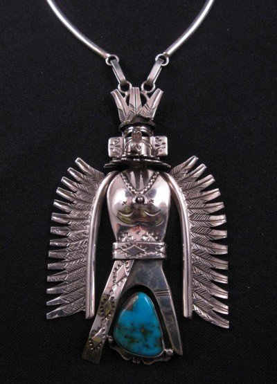 Turquoise Kachina Pendant Necklace, Nelson Morgan Navajo