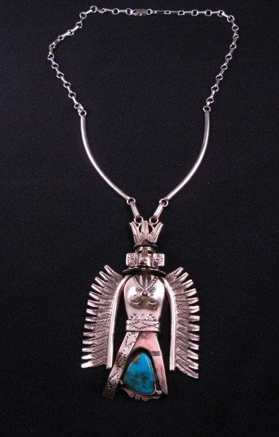 Image 2 of Turquoise Kachina Pendant Necklace, Nelson Morgan Navajo