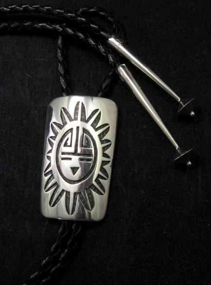 Joe Josytewa (Hopi) Sterling Silver Overlay Sunface Bolo