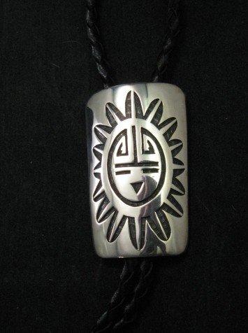 Image 1 of Joe Josytewa (Hopi) Sterling Silver Overlay Sunface Bolo