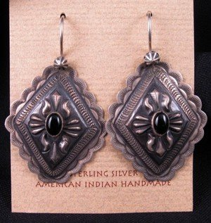 Native American Silver Repousse Concho Black Onyx Earrings, Terry Charley
