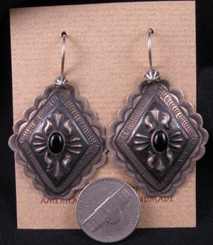 Image 1 of Native American Silver Repousse Concho Black Onyx Earrings, Terry Charley