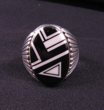 Navajo Black & White Inlay Silver Ring, Albert Tapaha sz14-1/2