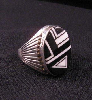 Image 1 of Navajo Black & White Inlay Silver Ring, Albert Tapaha sz14-1/2