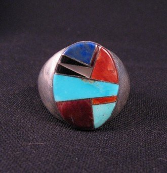 Native American Navajo Multigem Inlay Silver Ring sz13-1/2
