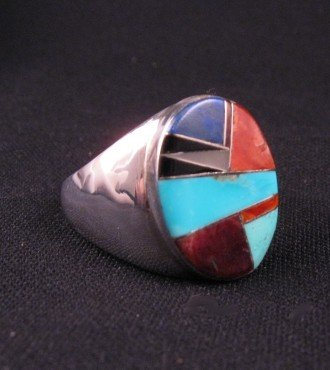 Image 1 of Native American Navajo Multigem Inlay Silver Ring sz13-1/2