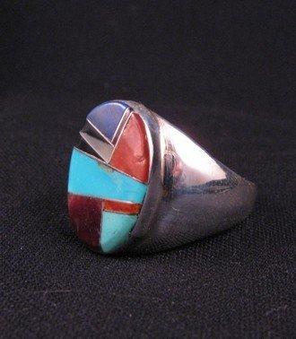 Image 2 of Native American Navajo Multigem Inlay Silver Ring sz13-1/2