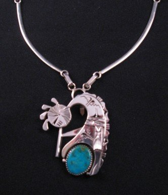 Navajo Turquoise Kokopelli Pendant / Necklace, Nelson Morgan