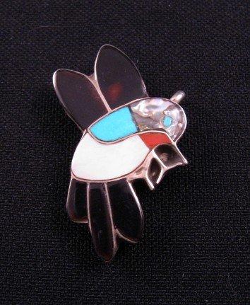 Image 0 of Zuni Inlaid Hummingbird Silver Pin / Pendant, Ella Gia