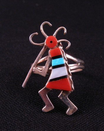 Native American Zuni Inlaid Kokopelli Ring sz7-1/2