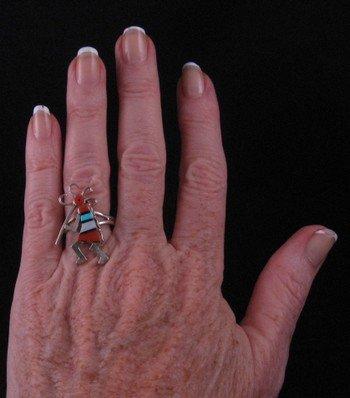 Image 1 of Native American Zuni Inlaid Kokopelli Ring sz7-1/2
