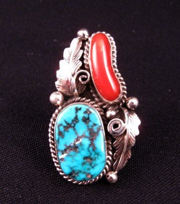 Navajo Turquoise & Coral Silver Ring Calvin Mariano sz6-1/4