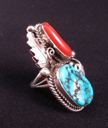 Image 1 of Navajo Turquoise & Coral Silver Ring Calvin Mariano sz6-1/4