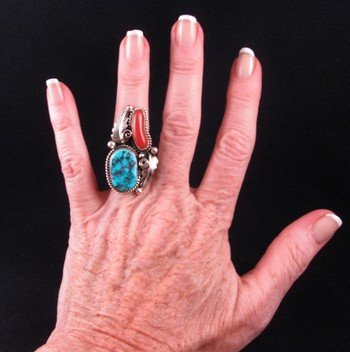 Image 2 of Navajo Turquoise & Coral Silver Ring Calvin Mariano sz6-1/4