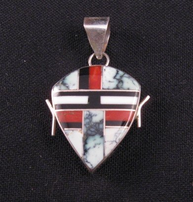 Image 1 of Reversible 2-Sided  Multi-stone Inlaid Pendant * Edison Yazzie * Navajo