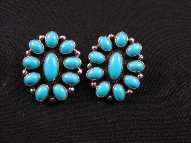 Image 0 of Geneva Apachito ~ Navajo ~ Turquoise Cluster Earrings