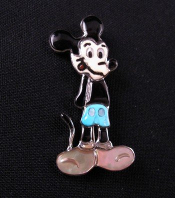 Image 0 of Zuni Inlaid Mickey Mouse Pin & Pendant, Andrea Lonjose Shirley