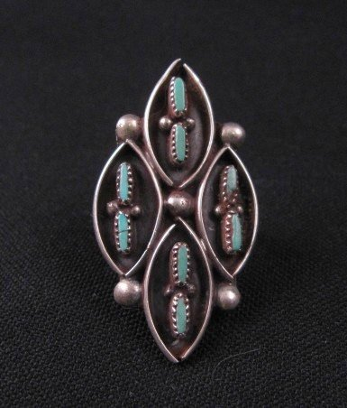 Image 0 of Vintage Native American Turquoise Silver Ring Sz7-1/2