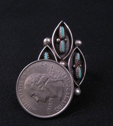 Image 2 of Vintage Native American Turquoise Silver Ring Sz7-1/2