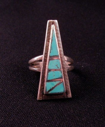 Vintage Native American Turquoise Flush Inlay Silver Ring, Sz6
