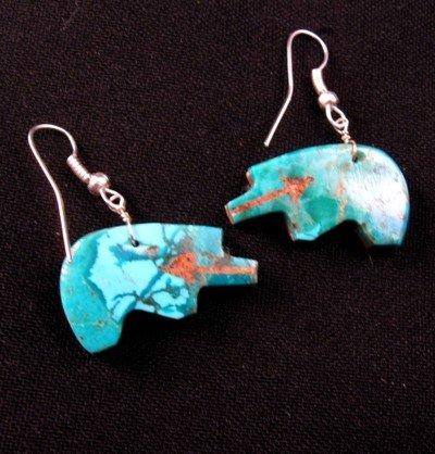 Image 1 of Native American Reversible Bear Fetish Earrings