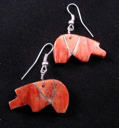 Image 2 of Native American Reversible Bear Fetish Earrings
