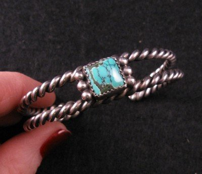 Old Pawn Vintage Native American Turquoise Silver Bracelet