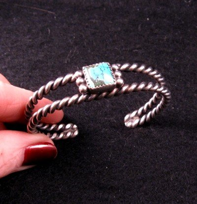 Image 1 of Old Pawn Vintage Native American Turquoise Silver Bracelet