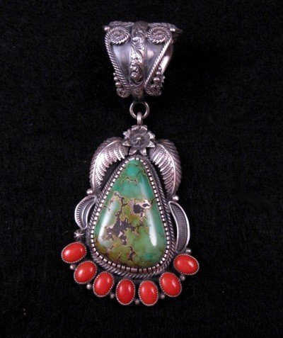 Native American Kirk Smith Skyhorse Turquoise Coral Silver Pendant
