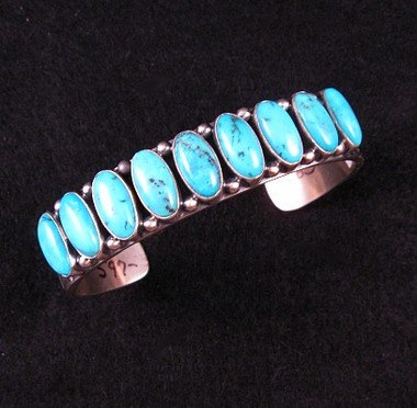 Image 0 of Navajo Kirk Smith Kingman Turquoise Sterling Silver Bracelet - Large