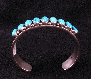 Image 1 of Navajo Kirk Smith Kingman Turquoise Sterling Silver Bracelet - Large