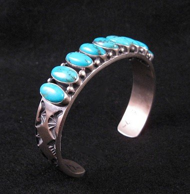 Image 2 of Navajo Kirk Smith Kingman Turquoise Sterling Silver Bracelet - Large