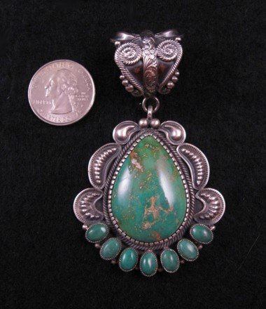 Old Pawn Style Navajo Turquoise Sterling Silver Pendant, Kirk Smith