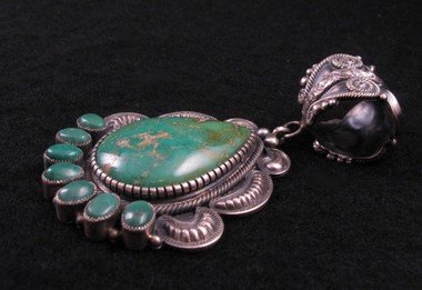 Image 1 of Old Pawn Style Navajo Pilot Mtn Turquoise Sterling Silver Pendant, Kirk Smith