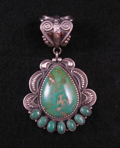 Image 2 of Old Pawn Style Navajo Pilot Mtn Turquoise Sterling Silver Pendant, Kirk Smith